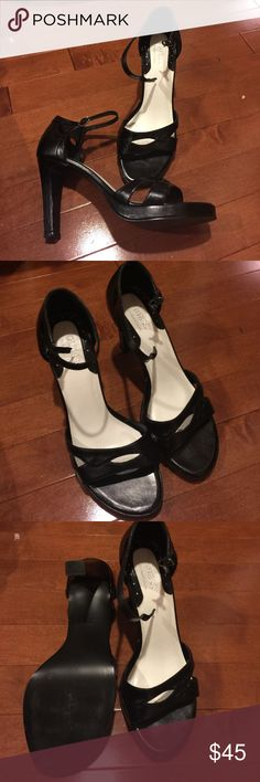 Guess by Marciano Shoes awesome heels Like new Guess by Marciano Shoes my absolute favorite just don't fit me anymore after having kids. Black open toe with strap around ankle Guess by Marciano Shoes Heels