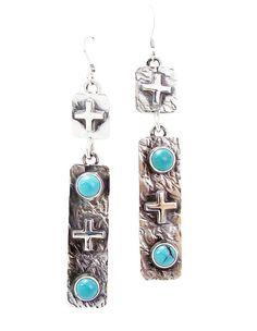 Navajo Silver Turquoise Cross Dangle Earrings