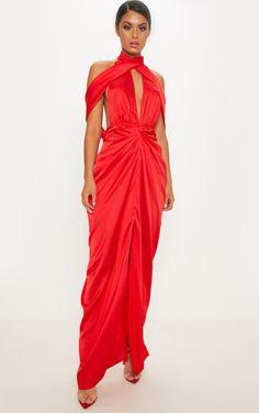 0daea674239 Red Satin Drape Detail Maxi Dress