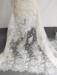 Beaded Wedding Gowns, Sequin Wedding, Bridal Wedding Dresses, Lace Weddings, White Lace Fabric, Embroidered Lace Fabric, Floral Fabric, Wedding Dresses With Flowers, Tulle Flowers