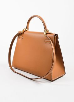 """Hermes Natural Tan Chamonix Leather Gold Toned Hardware """"Kelly 32cm"""" Bag Sideview"""