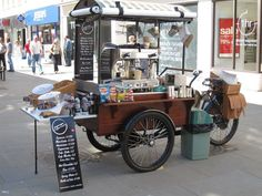 Hot Dog Street Food Cart on a Tricycle Cargo Bike for Coocking FOOD in the Street. Street food Mobile with a Bicycle. Coffee Carts, Coffee Truck, Bike Coffee, Food Box, Food Trucks, Coffee In Bed, Coffee Type, House Coffee, Coffee Menu