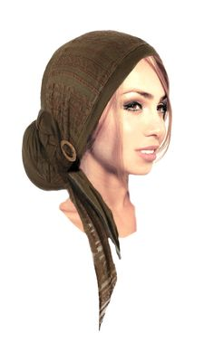 Olive Green Head Scarf Boho Chic Pre Tied Bandana by ShariRoseShop