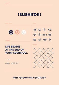 Sushiroll Branding by DekoRatio Branding & Design Studio Brand Identity Design, Graphic Design Branding, Corporate Design, Logo Design, Corporate Identity, Brand Design, Ci Design, Menu Design, Design Ideas