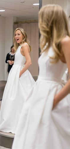 all the tips you need to know before you start shopping for a wedding dress! {plus a look at this amazing cross back rosa clara a-line jewel neck gown with bow in back and pockets!!}