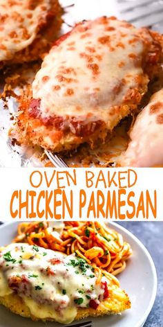 This delicious Oven Baked Chicken Parmesan recipe is easy and doesn't require any frying. Because this chicken Parmesan is baked, it is healthy, quick and easy! Make this crispy baked Parmesan crusted chicken for dinner tonight in about thirty minutes! Baked Parmesan Crusted Chicken, Chicken Parmesan Recipes, Easy Chicken Recipes, Crockpot Recipes, Recipe Chicken, Keto Recipes, Parmesan Potatoes, Recipes For Lunch, Quick Recipes For Dinner