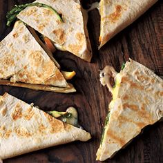 Brie, apple, and arugula quesadilla. This is healthy-ish. It isn't high in calories, per se. But there's not much uber healthy contribution.. just cheese, tortillas, argula, apples, and an apple cider vinegar sauce. but... they are EASY and amazing! they'd be good with bacon!