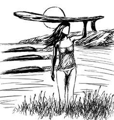 Robb Havassy. Surfer Girl Sketch II