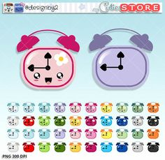 Flower Alarm clock Kawaii Clipart - Cute digital graphics - great for planner stickers stickers or scrapbooking. Commercial Use OK