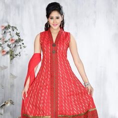 Old Rose Cotton Readymade Anarkali Churidar Kameez Online Shopping: KBA13