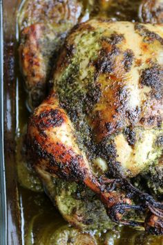 Chicken baked in chimichurri sauce