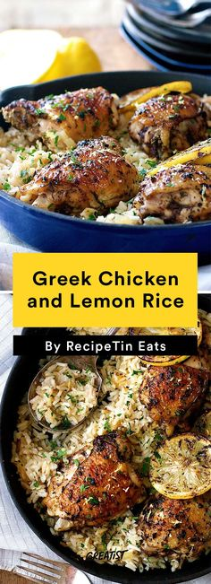 Chicken Thigh Recipes: Greek Chicken and Lemon Rice These seven recipes for chicken thighs broaden your dinner horizons by getting you out of the breast rut. Why not try Paleo chicken with cauliflower rice? Chicken Breast Recipes Healthy, Healthy Recipes, Recipes For Chicken Thighs, Turkey Thigh Recipes, Meat Recipes, Cake Recipes, Recipetin Eats, Greek Dishes, Greek Recipes