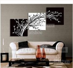 Wholesale Oil Painting - Buy Modern Abstract Huge Wall Art Oil Painting On Canvas: Black White TREE 00255, $48.91 | DHgate