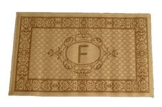 """Geo Crafts ® Lexington Sisalo Monogram Novelty Rug - """"F"""" . $34.99. Care: Wash off with hose. Size: 60cm x 100cm or approximately 24"""" x 39"""". Material: Polypropylene yarn. Design: """"F"""". Price Includes: 1 Monogram Rug initialed """"F"""". Personalize your home with the Geo Crafts ® Lexington Sisalo Monogram Novelty Rug - """"F"""". Initialed rugs and doormats have been Geo Craft's specialty for many years. Because this rug is loomed with the finest polypropylene yarn know fo..."""