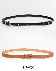 Imagen 1 de Pack de 2 cinturones con una o dos hebillas de ASOS