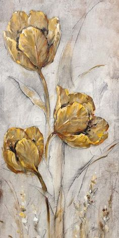 Art Print: Golden Poppies on Taupe Art Print by Tim O'toole by Tim O'toole : Flower Canvas, Flower Art, Abstract Canvas, Canvas Art, Gold Leaf Art, Modern Art Paintings, Arte Floral, Abstract Flowers, Watercolor Art