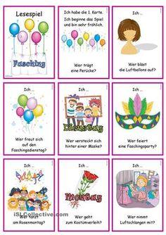 Lesespiel für die Gruppe/ Klassezum Thema Fasching/ Karneval- Sprechübung- Phrasen: Ich ... Wer ...?- Einüben von Phrasen & Sätzen: vorsprechen- nachsprechen- Festigen & Üben des Wortschatzes in Kombination einfacher Verben- Präsens- Verbkonjugation (1P. & 3P./ Sg)- Version OHNE Vorgabe der VerbkonjugationInfo: mit Austauschkarten bzgl. WortschatzBildwörterbuch + AB + Wortschatzliste zur Erarbeitung:https://de.islcollective.com/resources/printab...
