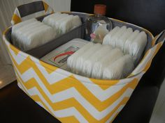 "Diaper Caddy(choose  BASKET & LINING color) 12""x10""x6"" Two dividers-Fabric Storage Bin basket-Chevron-""Yellow /White-Zigzag. $47.99, via Etsy."