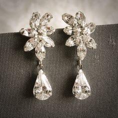 DARALIS, Vintage Style Wedding Earrings, Swarovski Crystal Bridal Drop Earrings, Marquise Oval Rhinestone Stud Earrings, Bridal Jewelry. $58.00, via Etsy.