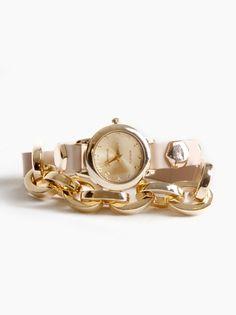 Jewelry Trend Alert! Links & Leather Wrap Watch. $45.00