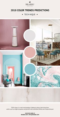 Trend Alert! Here Are The 2018 Color Trends Predictions: TECH-nique // Interior Design Trends. Pantone Colors. // #colortrends #pantone #trends Read more: https://www.brabbu.com/en/inspiration-and-ideas/materials/trend-alert-2018-color-trends-predictions