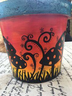 Painted pot: Mushrooms at sunset