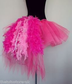 Burlesque MOULIN ROUGE Tutu Skirt PINK Bustle Feathers