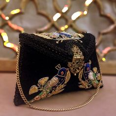 Peacock Embroidered Black Clutch Bag