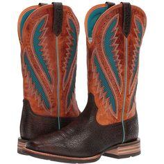 Ariat Quickdraw Venttek (Glazed Bark/Santa Fe Sun) Cowboy Boots ($200) ❤ liked on Polyvore featuring men's fashion, men's shoes, men's boots, mens wide shoes, mens wide width shoes, mens slip on boots, mens slipon shoes and ariat mens boots