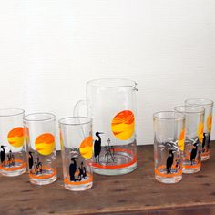 sunset drink set glasses and water karafe by Sweetlakevintage, $58.00