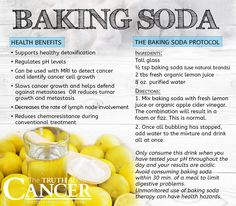 Regulating pH balance is key to total health and wellness and is primarily reliant on healthy lifestyle habits, including a proper diet. Here is how baking soda helps regulate pH levels and suppresses cancer growth rate. Click through to learn more about The Baking Soda Protocol. Please re-pin to share with your friends! // The Truth About Cancer