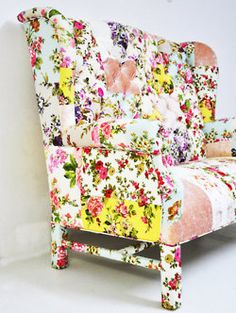 Custom order- floral Wing Back-patchwork sofa by DaisyCombridge Patchwork Sofa, Take A Seat, Love Seat, Shabby Vintage, Shabby Chic, Vintage Floral, Home Goods Decor, Home Decor, Decoration Bedroom