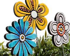 Fiore giardino arte palo pianta decorazione del di GVEGA su Etsy