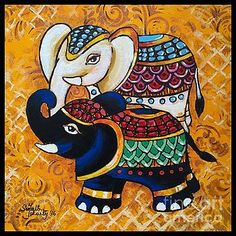The Elephant Duo Poster by Sonali Mohanty - Art drawings - Kerala Mural Painting, Ganesha Painting, Madhubani Painting, Indian Art Paintings, Kalamkari Painting, Madhubani Art, Indian Folk Art, Buddha Art, Art Drawings For Kids