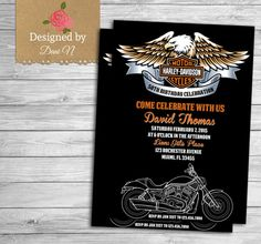 Harley davidson birthday party invitations harley davidson motorcycle harley davidson adult birthday invitation 50th birthday invite orange and black 40th filmwisefo Image collections