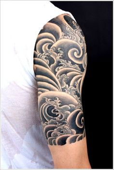 25+ Japanese Water Tattoo Designs for finish on right arm need the wave style over the blue