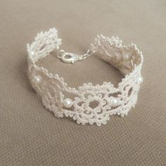 Floral lace bracelet  Wedding jewelry cut a piece off my dress to make this for my daughter if I have one!