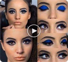 Wie man den Blue Eyeshadow Trend 70s Makeup, Blue Makeup, Eyeshadow Designs, Blue Eyeshadow, Trends, Halloween Face Makeup, Make Up, Rock, Den