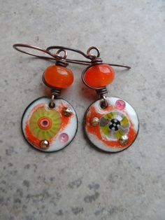 Juicy ... Lampwork and Enameled Copper Wire-Wrapped Rustic, Boho, Beachy, Woodland Earrings