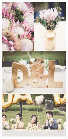 I like the gold details. Totally a fan of painted mason jars and glass vases, and the fun tasteful gold balloons