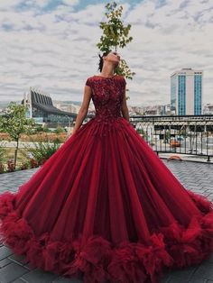 Tulle Appliques Ball Gown Round Neck Prom Dress,Sweet 16 Dresses,Quinceanera Dresses Sweet 16 Dresses for Girls Big Prom Dresses, Burgundy Quinceanera Dresses, Red Wedding Dresses, Sweet 16 Dresses, Ball Gowns Prom, Quince Dresses Burgundy, Red Ball Gowns, Dresses Dresses, Formal Dresses