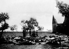 Bodies from the Lidice massacre are laid out for burial, June 1942. Reprisals after the death of Reinhard Heydrich.