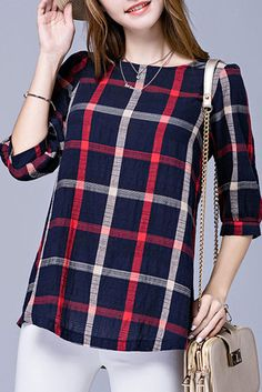 Blue & Red Round Neck Plaid Shirt