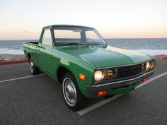 This 1974 Datsun 620 (chassisPL620432402) is said to be a one-family example that's never rusted and always been garaged. Correct Pistachio Greenpaint is a respray, but the seller says it's show quality and it matches the factory engine bay finish well. The impressive cabinsounds as if