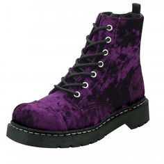 T.U.K. Shoes T.U.K. Shoes Anarchic 7 Eye Purple Velvet Combat Boots - Image 1 of 1