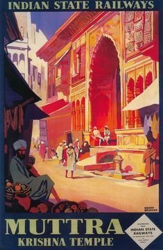 Print (India - Muttra Krishna Temple - Vintage Travel Poster)