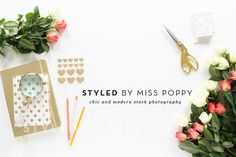 styled stock photo of a chic and stylish desktop adorned with beautiful roses and a collection of chic stationery!
