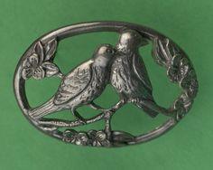 Seagull Pewter Brooch -- Lovebirds, dated Love Birds, Pewter, Rings For Men, Brooch, Jewelry, Tin Metal, Brooch Pin, Men Rings, Jewlery