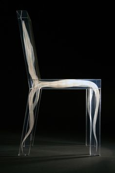 One of 'Ghost Chair' collection designed by Ralph Nauta and Lonneke Gordijn. It present their a futuristic concept of a chair, 3-dimensionally captured within the boundaries of reality. It gives you a bit of a dramatic feeling: unbelievable, high-tech, but beautiful.