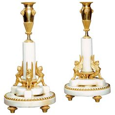 Pair of Empire Period Swedish Marble Candlesticks | From a unique collection of antique and modern candleholders and candelabra at https://www.1stdibs.com/furniture/lighting/candleholders-candelabra/